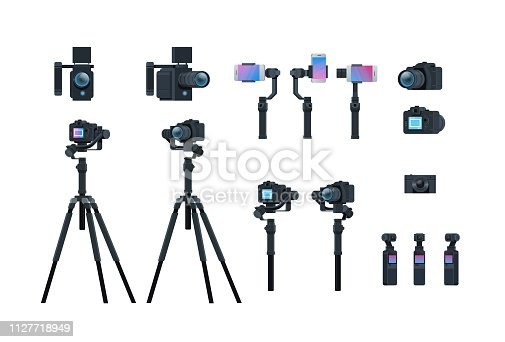 set professional camera equipment motorized gimbal stabilizer tripod metal construction take a photo movie or video concept isolated collection horizontal flat vector illustration