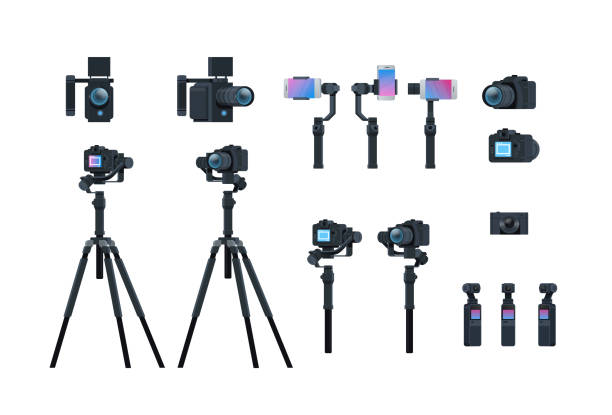set professional camera equipment motorized gimbal stabilizer tripod metal construction take a photo movie or video concept isolated collection horizontal flat set professional camera equipment motorized gimbal stabilizer tripod metal construction take a photo movie or video concept isolated collection horizontal flat vector illustration camera photographic equipment stock illustrations