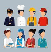 set professional employers to labor day celebration vector illustration