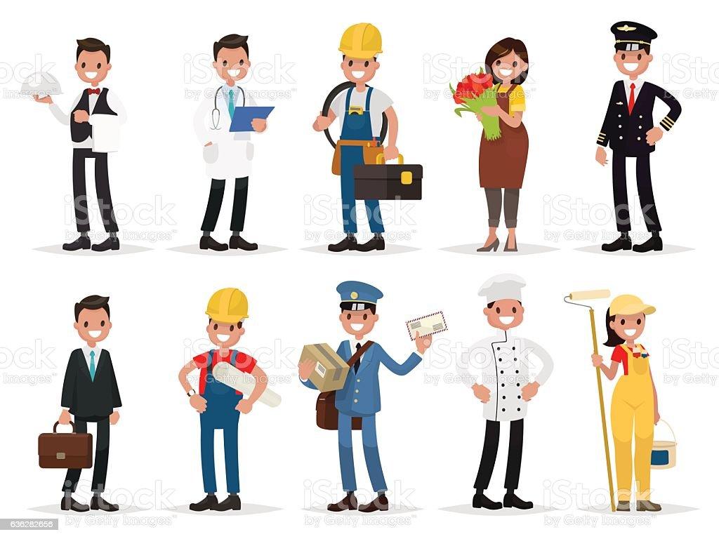 Set professions: waiter, doctor,  electrician, florist, pilot, vector art illustration