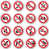 Set Prohibited signs paper stickers Nature symbols, vector illustration