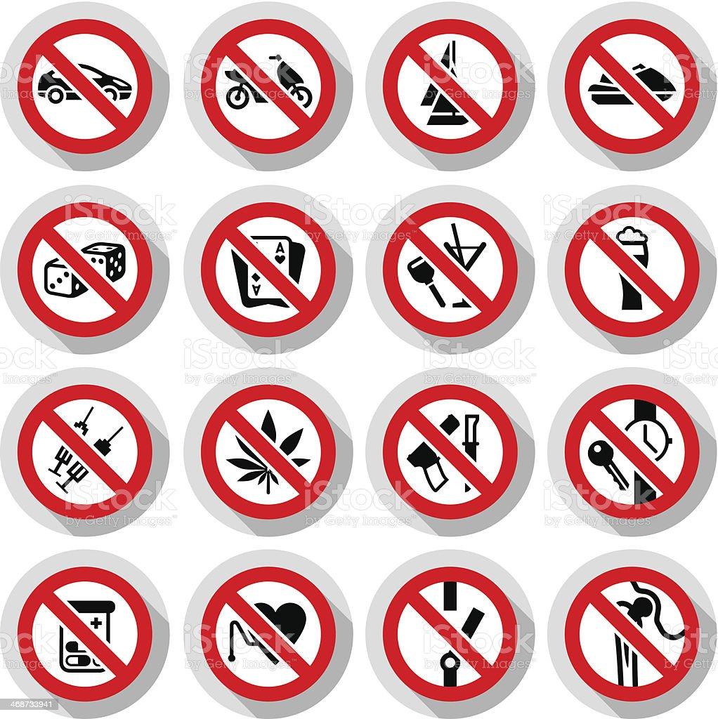 Set Prohibited symbols on paper stickers vector art illustration