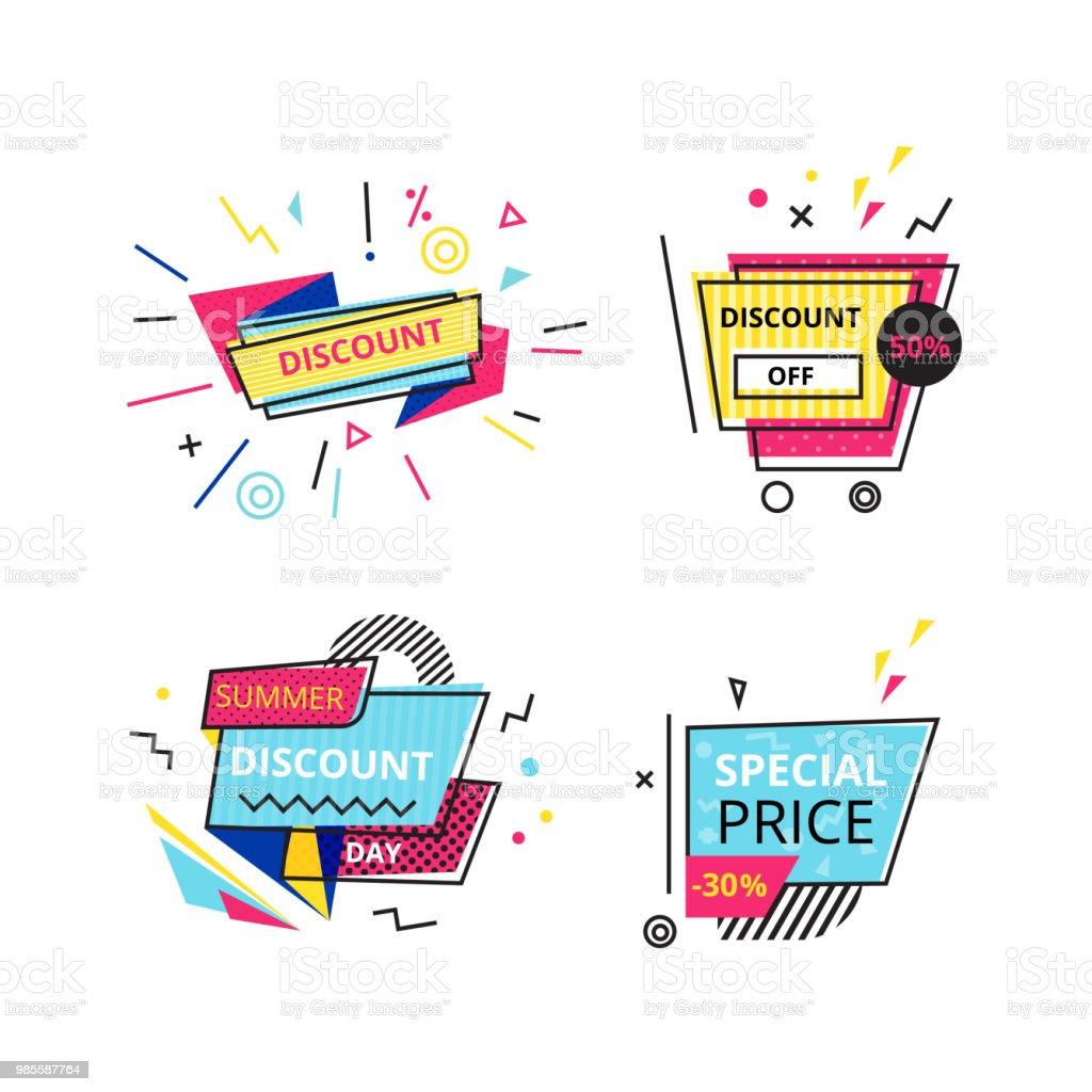 Tekst Stickers Goedkoop.Set Promotionele Stickers Banners Goedkope Etiketten Speciale
