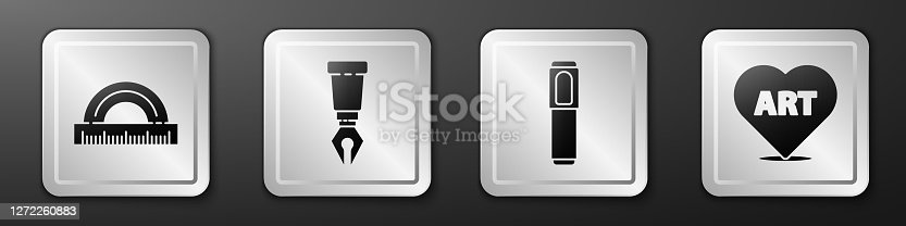 istock Set Protractor, Fountain pen nib, Marker pen and Heart with text art icon. Silver square button. Vector 1272260883