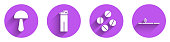 Set Psilocybin mushroom, Lighter, Medicine pill or tablet and Opium pipe icon with long shadow. Vector