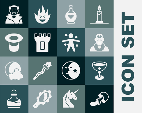 Set Psilocybin mushroom, Medieval goblet, Wizard warlock, Bottle with love potion, Castle tower, Magic hat, Vampire and Voodoo doll icon. Vector
