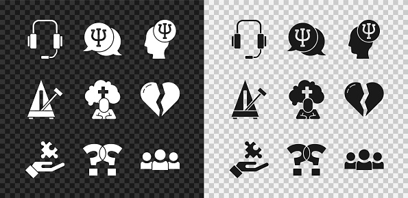 Set Psychologist online, Psychology, Psi, Solution to the problem, Question mark, Users group, Metronome with pendulum and Man graves funeral sorrow icon. Vector