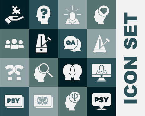 Set Psychology, Psi, Psychologist online, Metronome with pendulum, Depression, Users group, Solution to the problem and Question and Answer icon. Vector