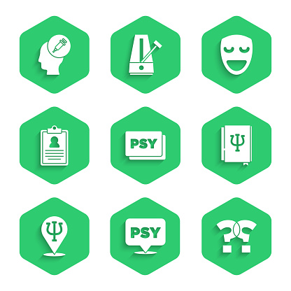 Set Psychology, Psi, Question mark, book,, Medical clipboard, Comedy theatrical mask and Addiction to drug icon. Vector