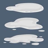 Set puddle, liquid, vector cartoon style isolated illustration