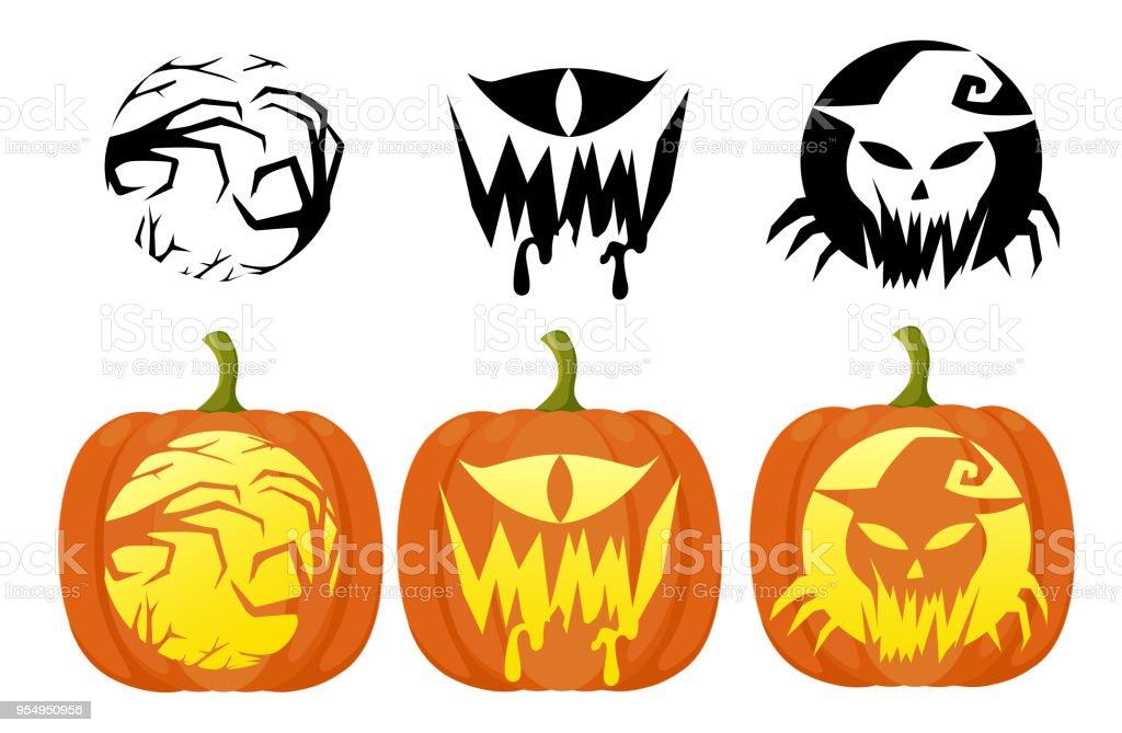 Ilustración de Set De Calabazas Para Halloween Plana Diseño Estilo ...