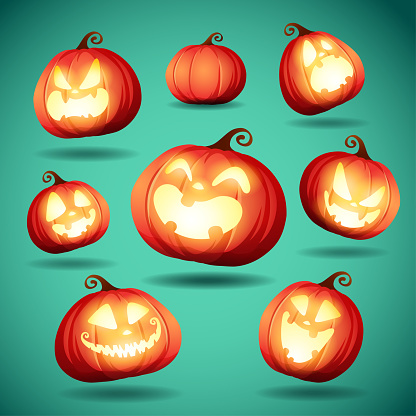 Set pumpkins of Halloween. A variety of pumpkins for Halloween design.