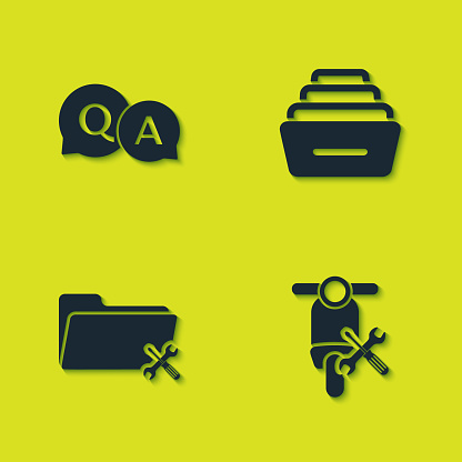 Set Question and Answer, Scooter service, Folder and Drawer with documents icon. Vector