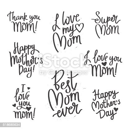 Set Quotes Mothers Day Calligraphy Stock Vector Art & More