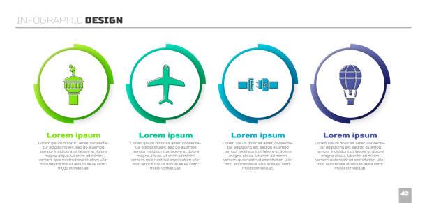 установите радар, самолет, ремень безопасности и воздушный шар. шаблон бизнес-инфографики. вектор - hot air balloon stock illustrations