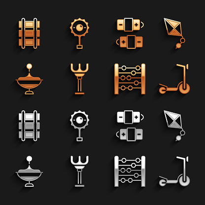Set Rake toy, Kite, Roller scooter, Abacus, Whirligig, Battery, Toy railway and Rattle baby icon. Vector