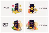 Set Ramadan sale banners or Cashback set,discount and best offer tag, label or sticker set on occasion of Ramadan Kareem and Eid Mubarak, vector illustration