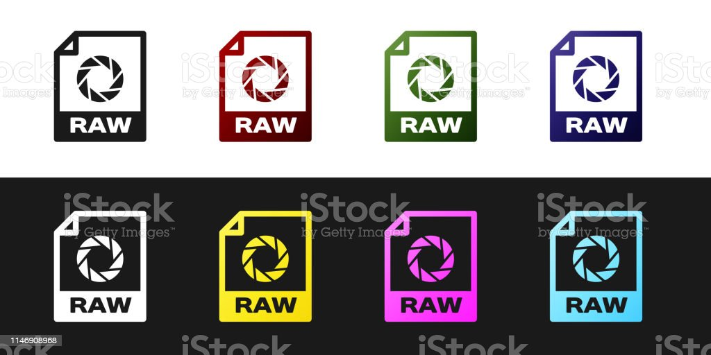 Set Raw File Document Icon Download Raw Button Icon Isolated