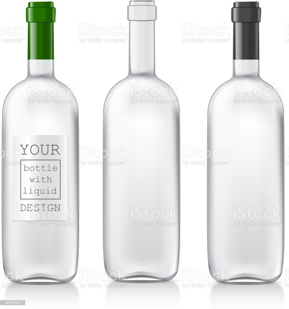 Set realistic glass bottles vector art illustration