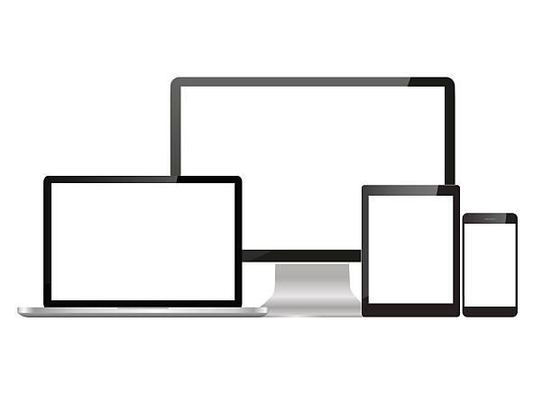 Set realistic Monitors laptop tablet vector art illustration
