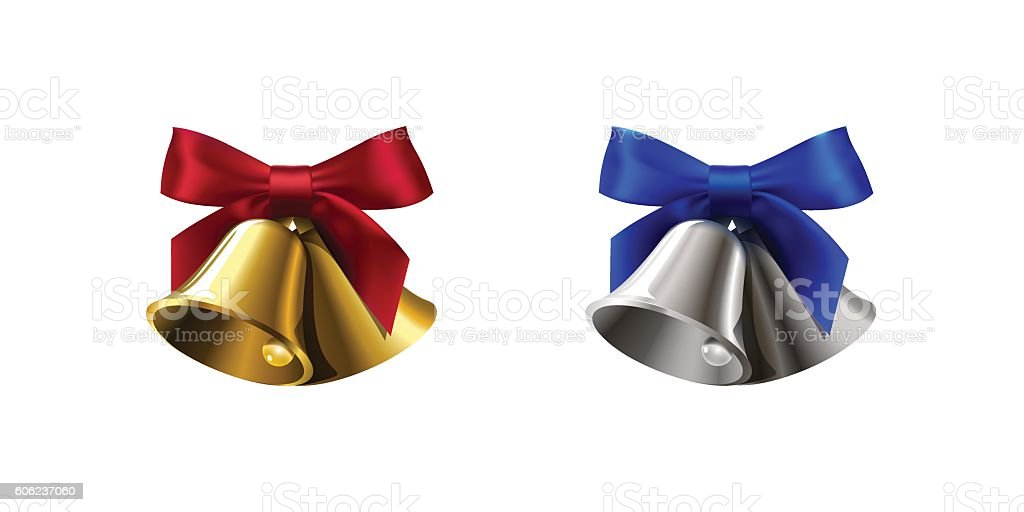 set realistic silver golden two bell with red blue bow vector art illustration