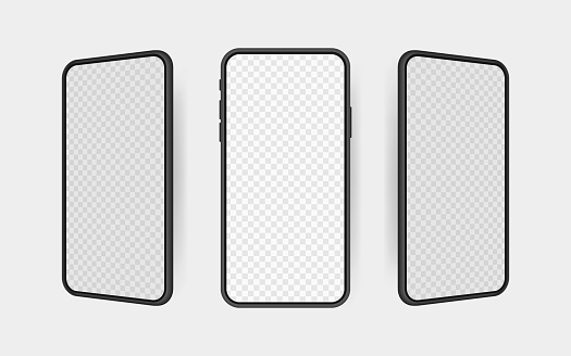 Set realistic smartphone blank screen, phone mockup. Template for infographics or presentation UI design interface