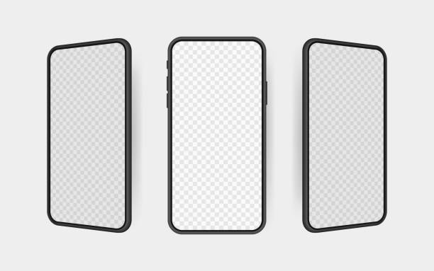 Set realistic smartphone blank screen, phone mockup. Template for infographics or presentation UI design interface Set realistic smartphone blank screen, phone mockup. Template for infographics or presentation UI design interface. generic description stock illustrations
