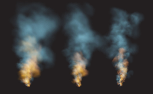 Set Realistic Smoke And Fire Shapes On A Black Background Vector Illustration Stock Illustration Download Image Now Istock