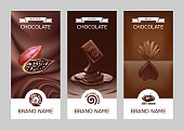 Set realistic vector vertical banners with milk, dark and bitter chocolate