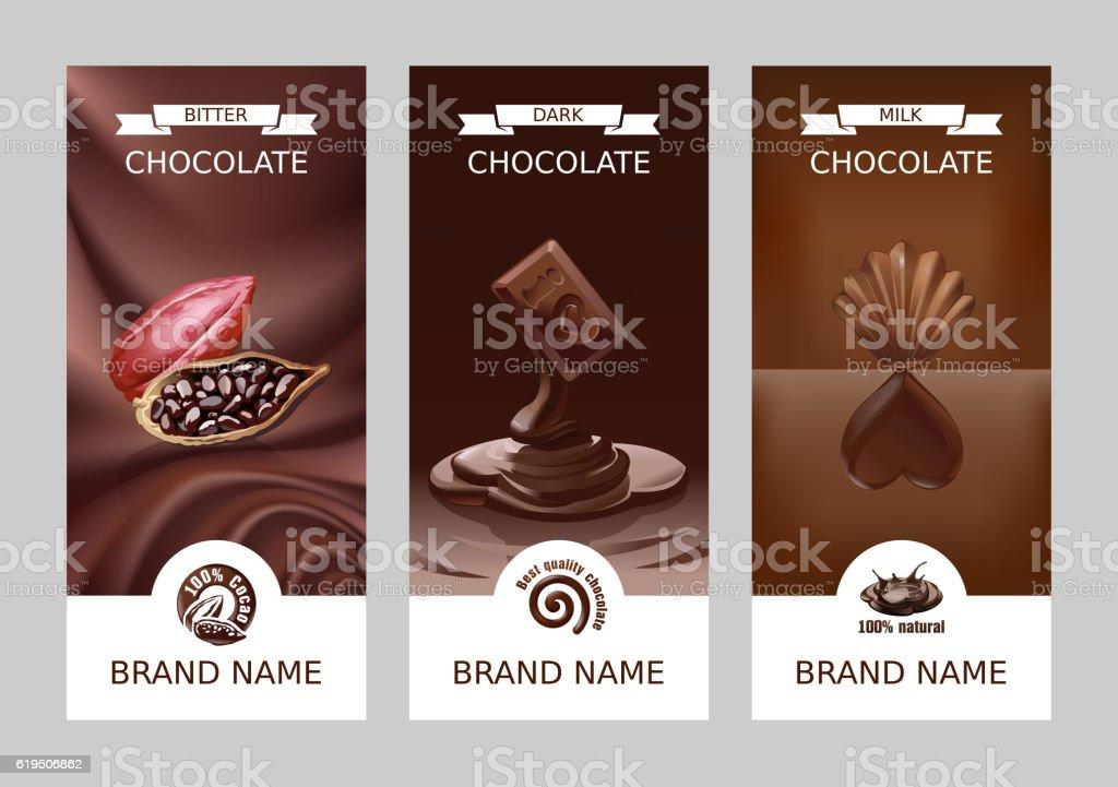 Set realistic vector vertical chocolate banners - ilustração de arte em vetor