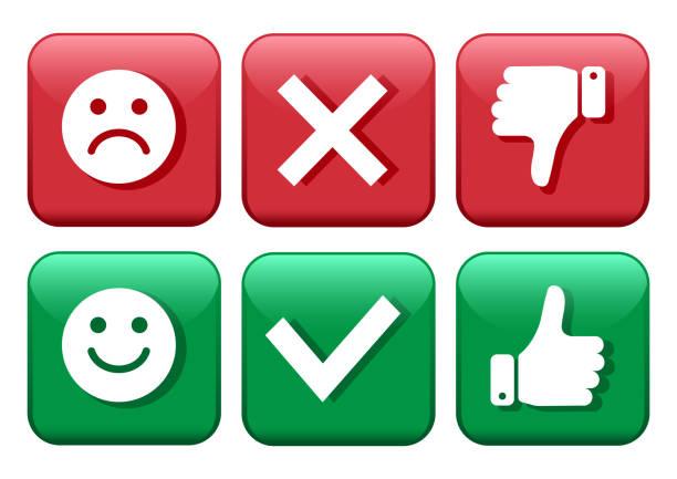 rote und grüne symbole tasten einstellen. smileys emoticons positive als auch negative. bestätigung und ablehnung. ja und nein. daumen sie rauf und runter. mögen und nicht mögen. vektor-illustration. - kreuzkette stock-grafiken, -clipart, -cartoons und -symbole
