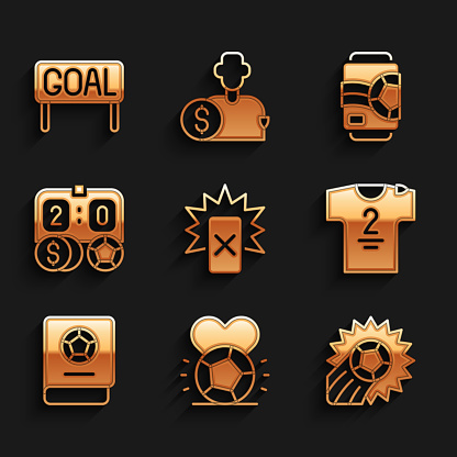 Set Red card football, Soccer, Football jersey and t-shirt, learning book, betting money, Beer can and Goal soccer icon. Vector
