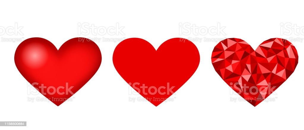 Set Red Heart Icon 2d Heart 3d Heart And Low Poly Heart