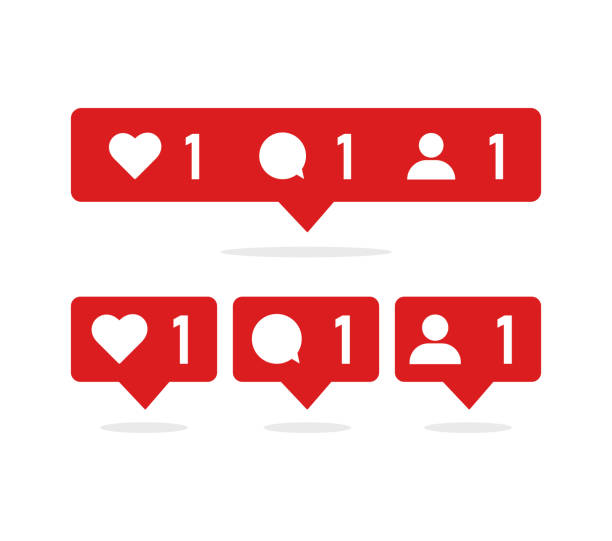 Set red social icons with numbers and characters inside red social icons with numbers and characters inside. Like, message and friend auto post production filter stock illustrations
