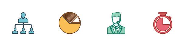 stockillustraties, clipart, cartoons en iconen met stel referral marketing, pie grafiek infographic, man met headset en stopwatch pictogram. vector - call center