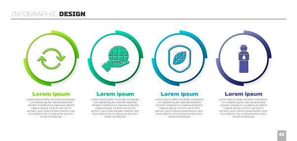 Set Refresh, Hand holding Earth globe, Shield with leaf and Bottle of water. Business infographic template. Vector