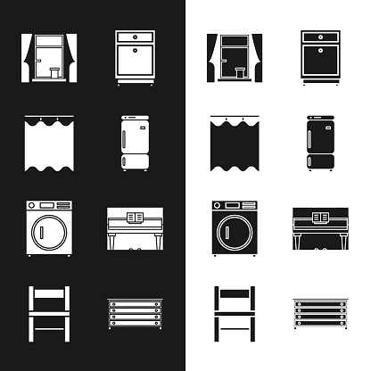 Set Refrigerator, Curtains, Window with curtains, Furniture nightstand, Washer, Grand piano, Chest of drawers and Chair icon. Vector