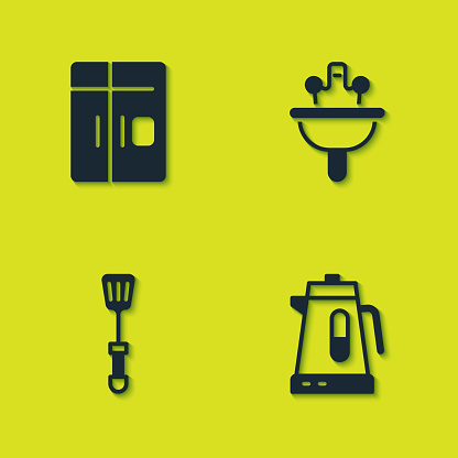 Set Refrigerator, Electric kettle, Spatula and Washbasin icon. Vector
