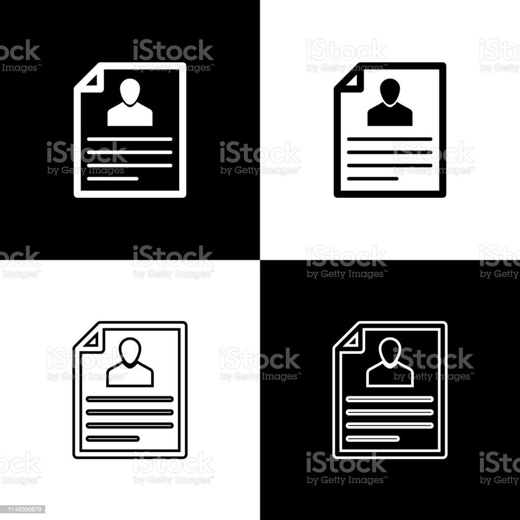Set Resume Icons Isolated On Black And White Background Cv
