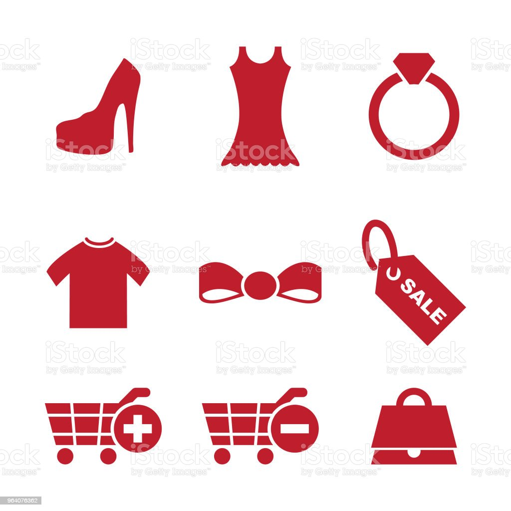 Set retail and fashion shop icon in flat style vector element - Royalty-free Bag stock vector
