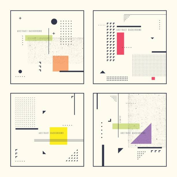 set retro abstract geometric backgrounds. the poster with the flat figures - composition stock illustrations