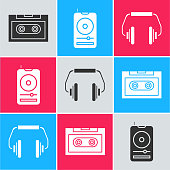 Set Retro audio cassette tape, Music player and Headphones icon. Vector