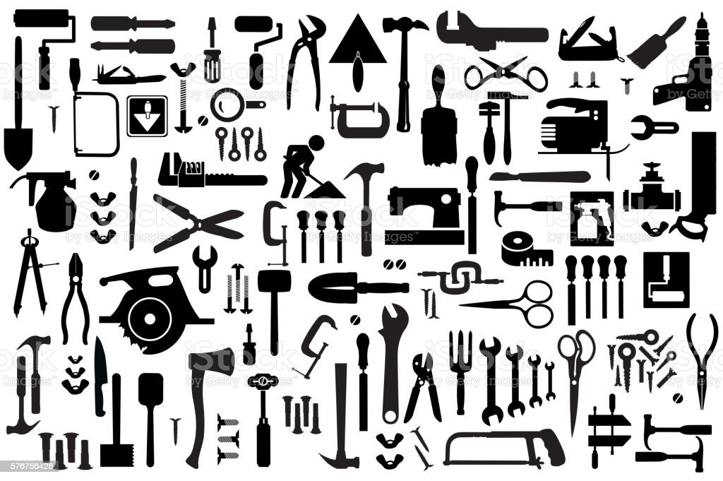 Set Retro Building Tools Royalty Free Stock Vector Art