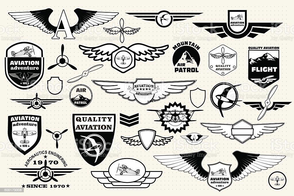 Conjunto retro emblems,, señales y elementos de diseño de logotipo. La aviación - ilustración de arte vectorial