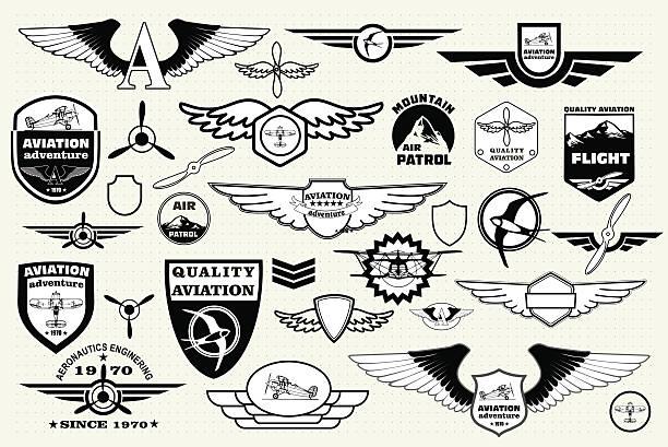 Set retro emblems, design elements , badges and logo. Aviation Monochrome Mega Set of retro emblems, design elements , badges and logo patches on the theme aviation aviation and environment summit stock illustrations