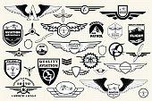 Set retro emblems, design elements , badges and logo. Aviation