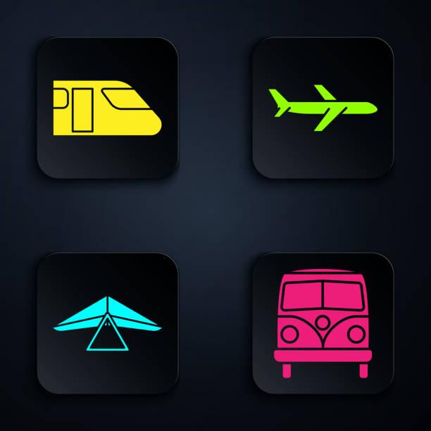 ilustrações, clipart, desenhos animados e ícones de definir minivan retrô, trem, planador de asa delta e plano. botão quadrado preto. vetor - ícones de design planar