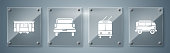 Set Retro minivan, Trolleybus, Pickup truck and Old city tram. Square glass panels. Vector