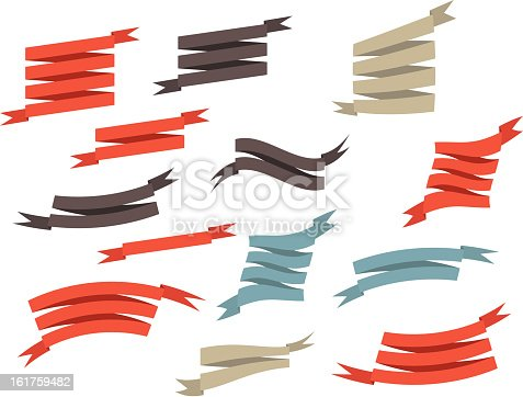 set retro ribbons and label  vector illustration  EPS10. Contains transparent objects used for shadows drawing, glare and background. Background to give the gloss.