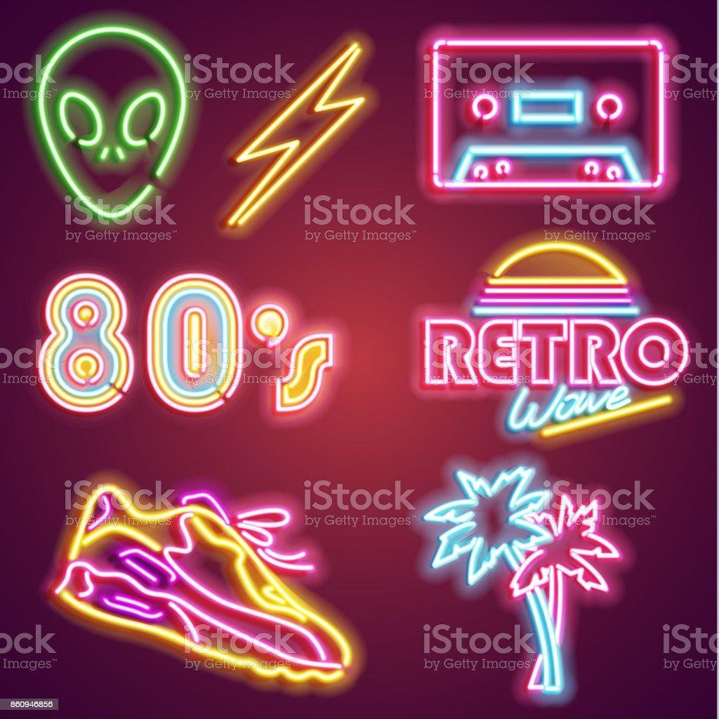 Set retrowave neon sign. Neon sign, bright signboard, light banner. Vector icons vector art illustration
